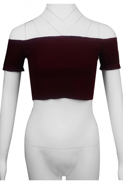 Chic Ruffle Hem Simple Plain Off The Shoulder Slim Rib Knit Cropped Top