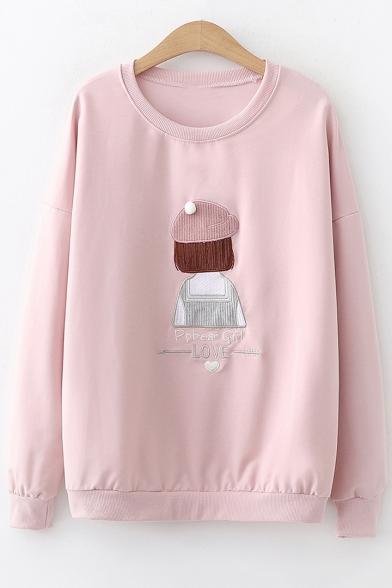 Cute Sweet Long Sleeve Round Neck Letter Cartoon Figure Printed Regular Fitted Sweatshirt
