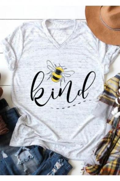 Funny Letter Animal Bee Kind Print Short Sleeve V-Neck Grey T-Shirt
