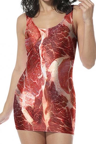 Funny Pork Printed Round Neck Sleeveless Mini Fashion Bodycon Red Dress