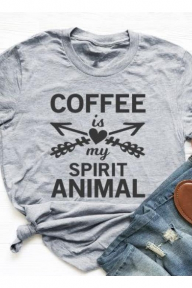 Grey Funny Letter COFFEE IS MY SPIRIT ANIMAL Printed Basic Round Neck Short Sleeve Graphic T-Shirt
