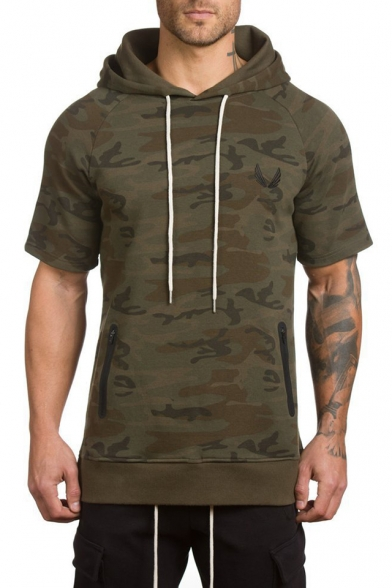 Men's Trendy Green Camouflage Print Zip Pocket Split Side Short Sleeve Sports Fitted Cotton Hoodie