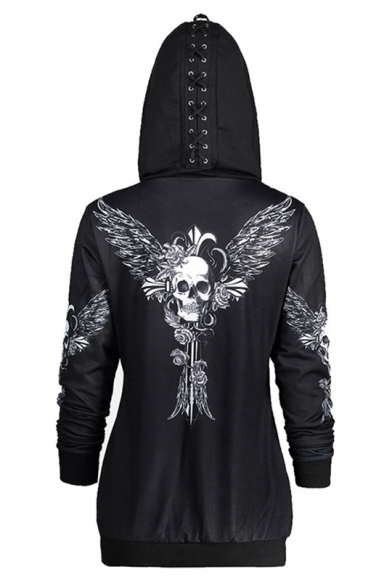 New Trendy Black Skull Wing Print Back Long Sleeve Zip Up Long Fitted Lace-Up Hoodie for Women