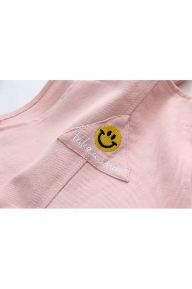 Simple Letter TAKE A SMILE Cartoon Happy Face Embroidered Leisure Overall Denim Jumpsuits