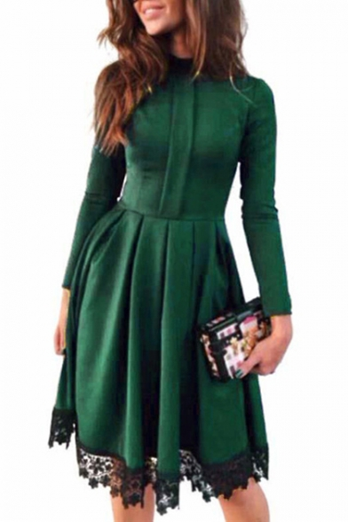 Stand-Collar Long Sleeve Zip Back Chic Lace-Trimmed Midi A-Line Pleated Dress