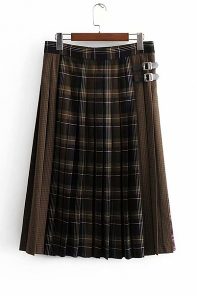 Stylish Plaid Printed Zip Closure Side Buckle Embellished Patchwork Midi A-Line Pleated Skirt