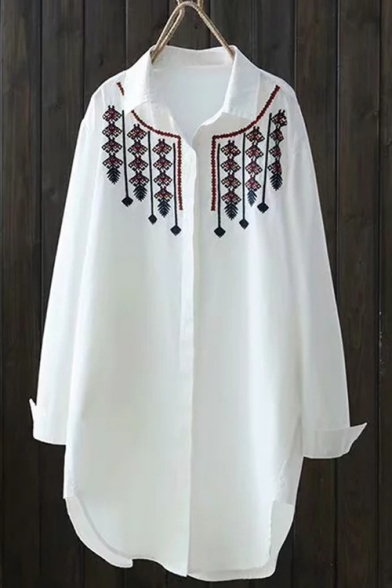 Trendy Tribal Print Embroidered Lapel Collar Long Sleeve Concealed Button White Long Shirt