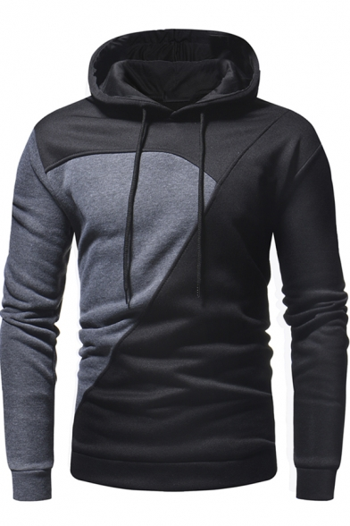 Unique Colorblock Patchwork Long Sleeve Slim Fit Drawstring Hoodie for Men