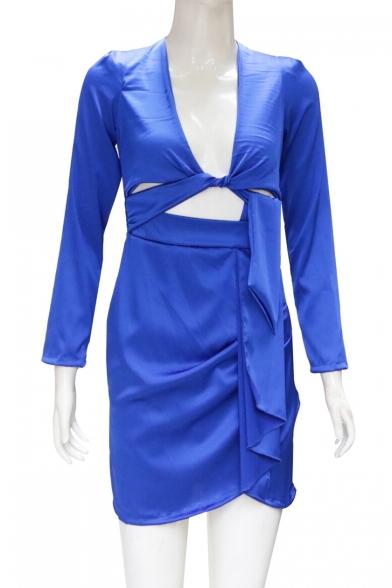 Unique Stylish Shrug Shoulder Long Sleeve V-Neck Cut Out Waist Knotted Ruched Detail Plain Mini Sheath Dress