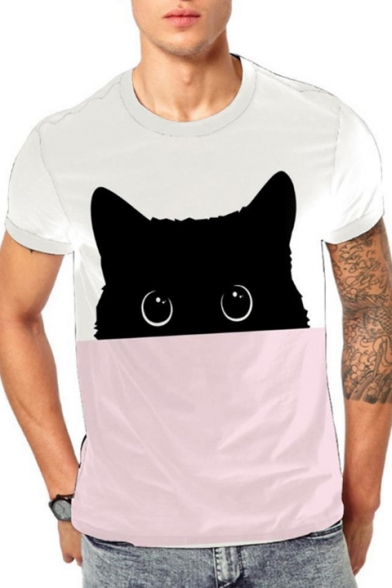 3D Cat Printed Short Sleeve Round Neck Colorblock Pink Tee for Men