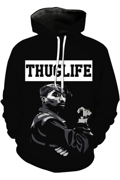 American Rapper Cool Street Style Long Sleeve Letter THUGLIFE Character Printed Black Drawstring Hoodie
