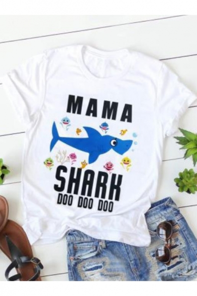 Funny Cartoon Fish Letter Printed Short Sleeve Loose Fitted White T-Shirt