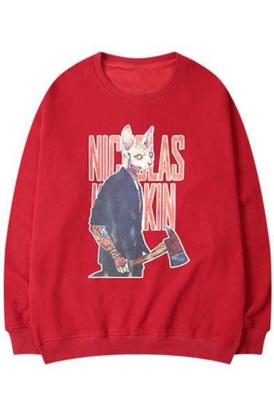 Hip Hop Fashion Retro Cartoon Graphic Printed Crew Neck Loose Casual Cotton Sweatshirt