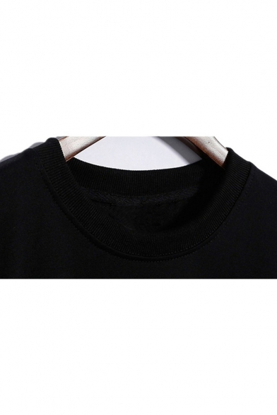 LARRY Letter Print Round Neck Long Sleeve Pullover Sweatshirt
