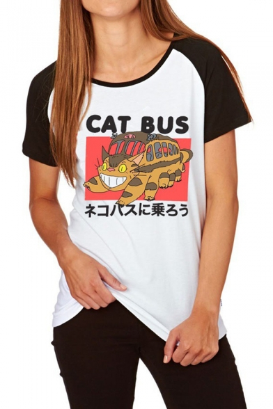 Lovely Cartoon Cat Bus Graphic Print Colorblock Raglan Sleeve White T-Shirt