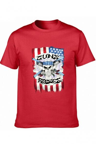 New Stylish Letter GUNS ROSES Flag Skull Print Short Sleeve Cotton Graphic T-Shirt