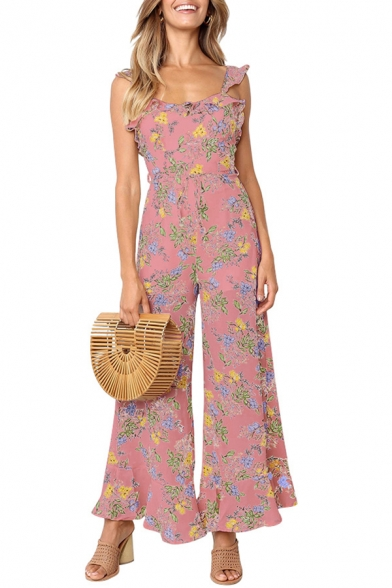Popular Trendy Scoop Neck Sleeveless Floral Printed Tie Back Ruffle Detail Wide Leg Jumpsuits