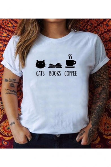Street Style Funny Cats Books Coffee Print Loose Fit Relaxed T-Shirt