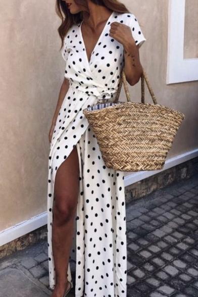 Summer's Vintage Polka Dot Printed Short Sleeve V-Neck Split Front Maxi A-Line Dress