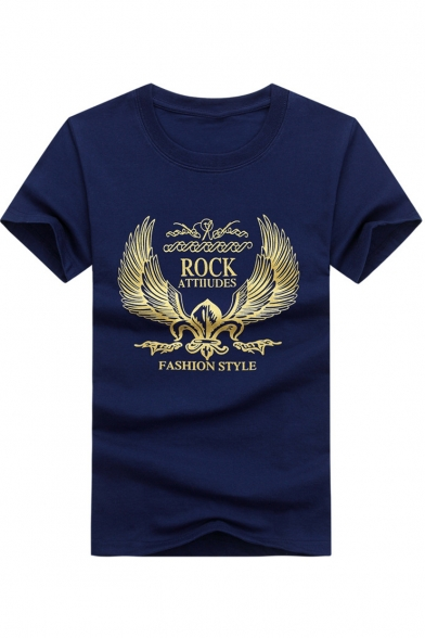 Trendy Letter ROCK ATTITUDES Gold Wing Print Short Sleeve Cotton Casual T-Shirt