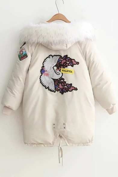 Winter's Trendy Crane Embroidered Long Sleeve Ribbon Zip Pocket Fur-Trimmed Hooded Zip Up Long Cotton Padded Coat