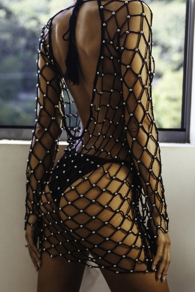 Women's Sexy Beach Hollow Out Fishnet Open Back Long Sleeve Cover-Up Swimwear