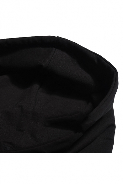 Black Casual Leisure Striped Cuff Long Sleeve Leopard Print Logo Chest Black Hoodie
