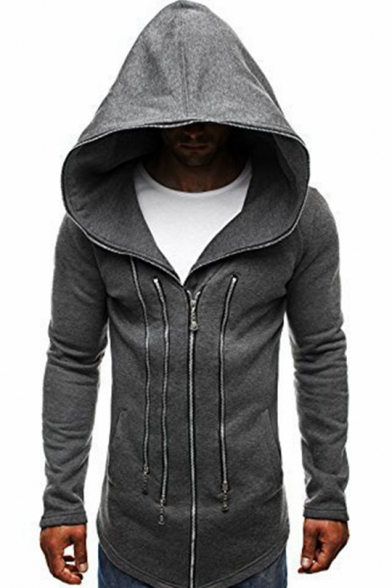 Chic Contrast Piping Fashion Multi-Zip Embellished Front Long Sleeve Slim Fitted Zip Up Hoodie