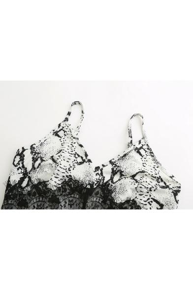 Chic Snake Printed Fashion Lace-Paneled White Mini Pencil Slip Dress