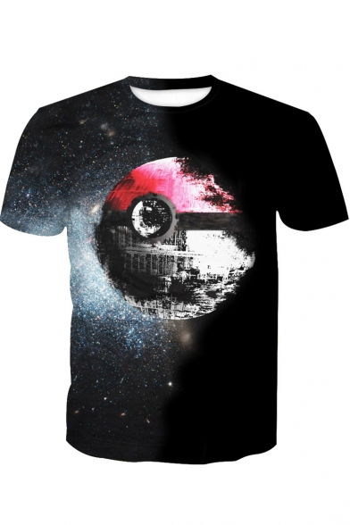 Cool 3D Pokemon Ball Galaxy Printed Black Regular Fit T-Shirt