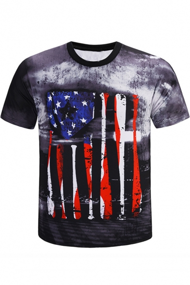 Cool Tie Dyed Flag Pattern Men's Short Sleeve Fitted Grey T-Shirt