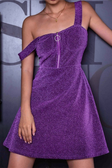 Fashion Zip Front Wide Straps Stylish Mini A-Line Purple Sequined Cami Dress for Party