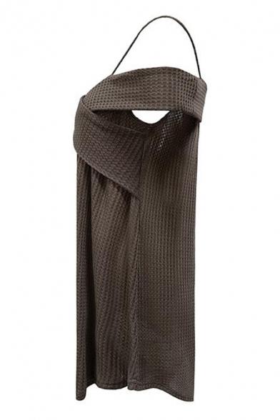 Fashionable Spaghetti Straps Short Sleeve Plain Khaki Knit Mini Dress