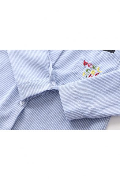 Lovely Cartoon Letter Cat Embroidered Pocket Long Sleeve Striped Button Shirt