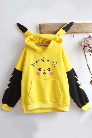 Lovely Cartoon Pikachu Print Ear Design Long Sleeve Colorblock Yellow Cotton Hoodie