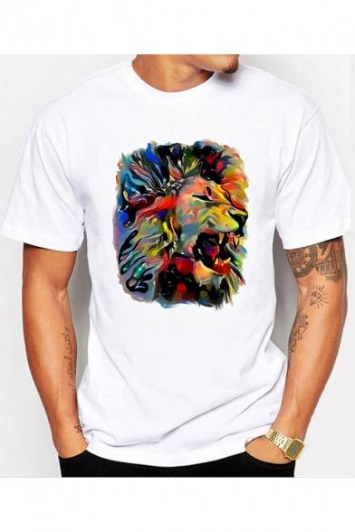 1eb39031 Men's Fashion Oil Painting Lion Print Short Sleeve White Casual T-Shirt ...