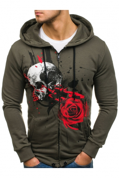 New Trendy Fashion Ink Skull Rose Printed Long Sleeve Drawstring Hem Slim Fitted Zip Hoodie