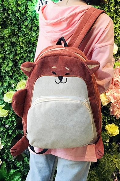 Students School Fashion Cute Cartoon Fox Dog Design Corduroy Backpack 28*12*41cm