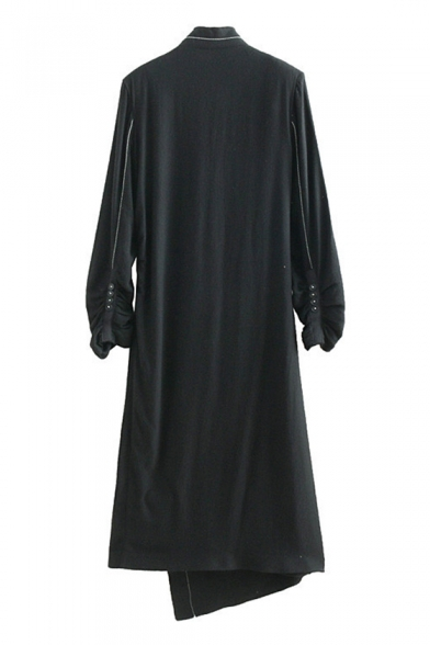 Unique Stylish Stand Collar Long Sleeve Button-Embellished Ruched Cuff Godet Side Black Midi Wrap Dress