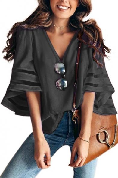 Women's Fashion Mesh-Panelled Sleeve V-Neck Loose Fit Chiffon Blouse