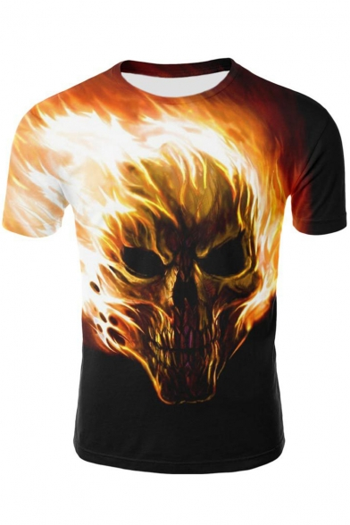 Awesome 3D Fire Skull Pattern Short Sleeve Men's Relaxed Black T-Shirt