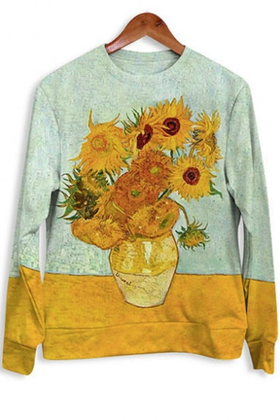 Basic Crewneck Long Sleeve Van Gogh Sunflower Printed Casual Loose Yellow Sweatshirt