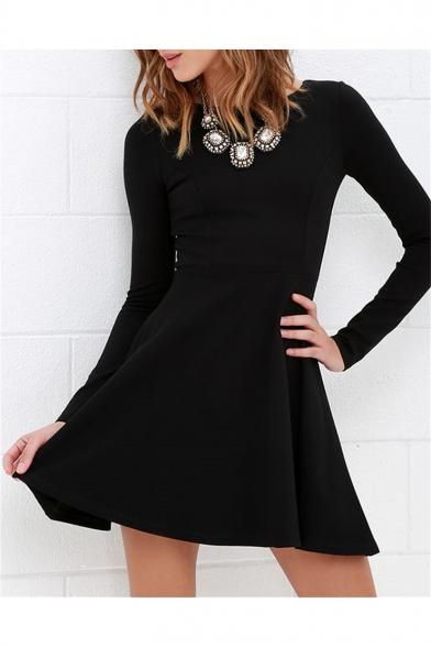 Basic Plain Round Neck Long Sleeve Zip Back Mini A-Line Little Black Dress