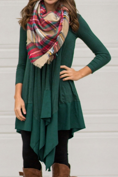 Cozy Long Sleeve V Neck Plain Asymmetric Midi Dress