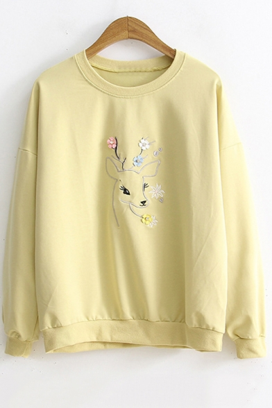 Deer Floral Embroidered Long Sleeve Round Neck Leisure Pullover Sweatshirt