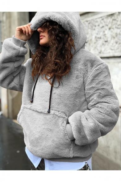 Hot Popular Simple Plain Long Sleeve Kangaroo Pocket Warm Fluffy Fleece Hoodie
