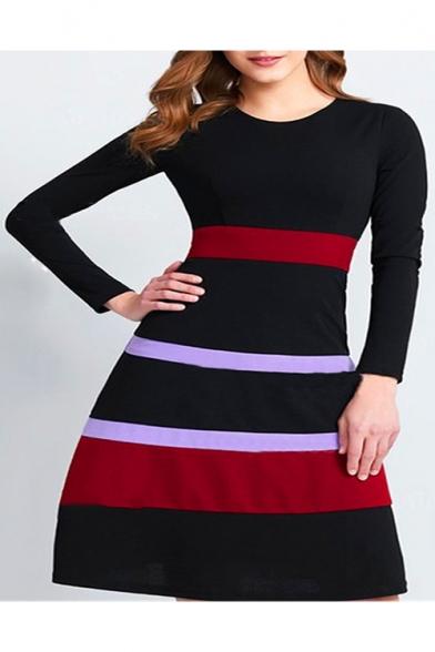 Hot Sale Long Sleeve Round Neck Striped Midi Black A-Line Dress