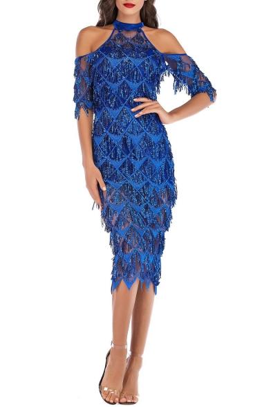Ladies Graceful Halter Neck Cold Shoulder Fringed Hem Midi Pencil Sequined Evening Dress