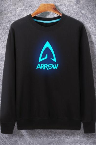 Luminous Arrow Printed Long Sleeve Round Neck Black Hip Hop Style Sweatshirt for Guys