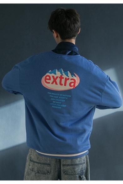 Men's Retro Letter EXTRA Print Round Neck Long Sleeve Loose Fit Sweatshirt